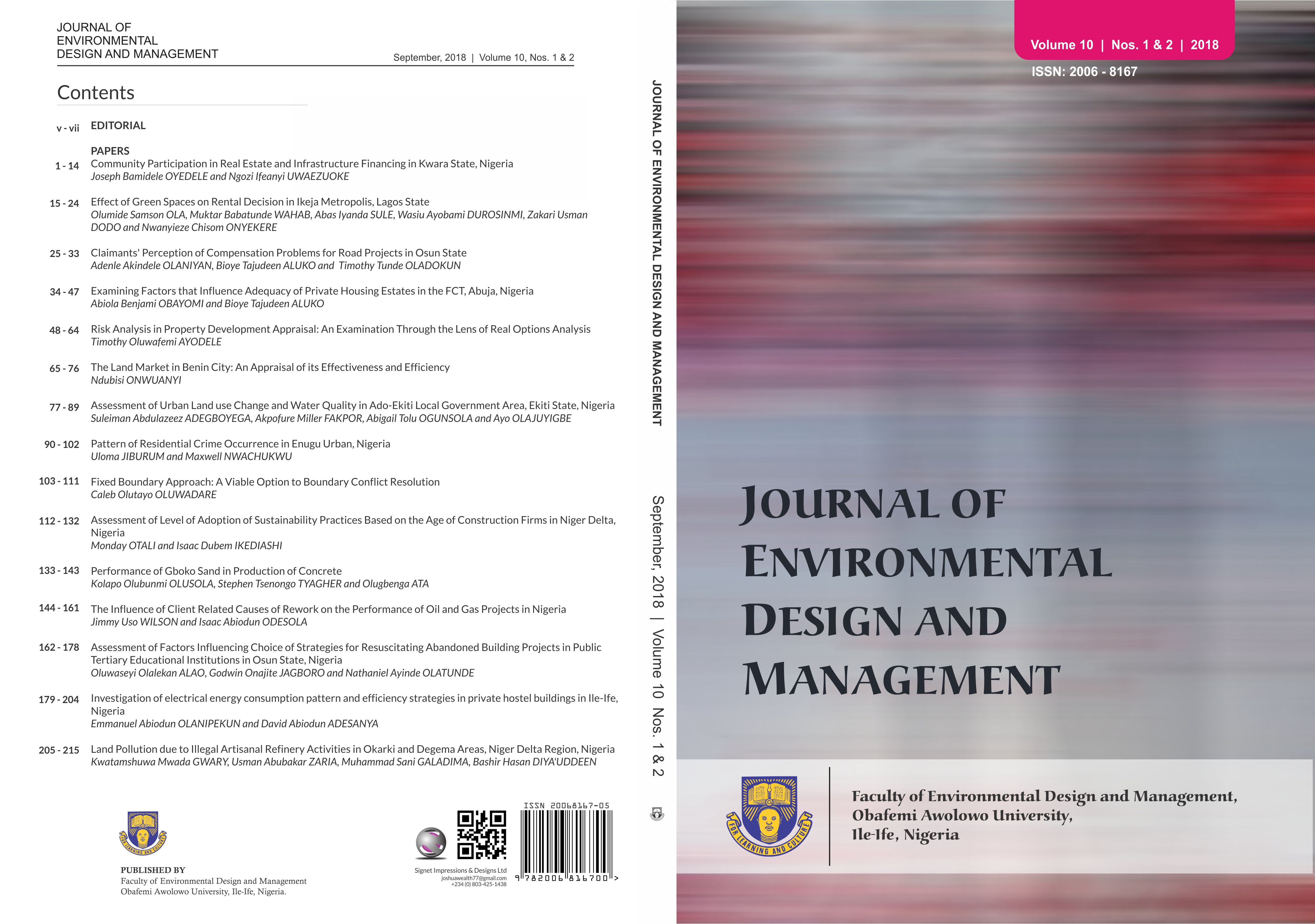 Journal of Environmental Design and Management